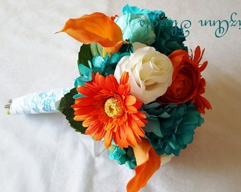 ORANGE, TEAL, IVORY Silk, Real Touch Flowers Wedding Bouquet and Boutonniere Package, Gerberas,Roses,Calla Lilies, Hydrangea Custom Order