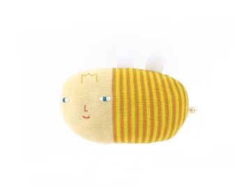 Bea the Bee, soft knitted toy, yellow