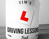 Personalised Driving Lessons Fund Ceramic Money Box Piggy Bank Savings Jar Hand Printed xmas christmas 17th birthday new Driver Learner Car