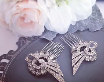 Bridal Hair Comb, beautiful set of vintage rhinestone blooms, wedding hair, bridal comb, wedding hair accessory, vintage rhinestone comb
