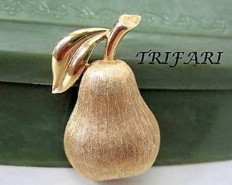 Trifari Pear Brooch -  Brushed Gold Tone Pin - Mid Century Figural