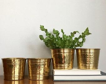 Vintage Brass Planters Gold Metal Flower Pots Set of Four Boho Chic