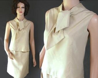 40%OFFSALE 60s Separates 2 Piece Set Blouse Skirt Mad Men Pary Tan Majestic