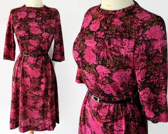 60s British Lady Wiggle Dress Floral Print