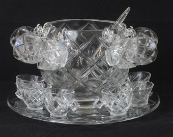 Vintage Colony Cut Glass Crystal Glassware Punch Bowl Set 12 Glasses Pressed Glass