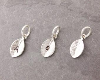 Add On Charms, silver leaf charm, initial charm, mini leaf charm, personalized leaf, leaf, add charms, charm bracelet, small leaf, AD