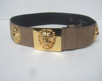 Ornate Gilt Metal Lion Buckle Belt c 1980s