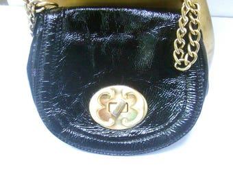 Black Shiny Vinyl Gilt Chain Shoulder Bag