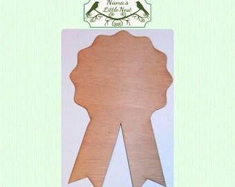 Ribbon, Award, Blue Ribbon (Medium) Wood Cut Out - Laser Cut