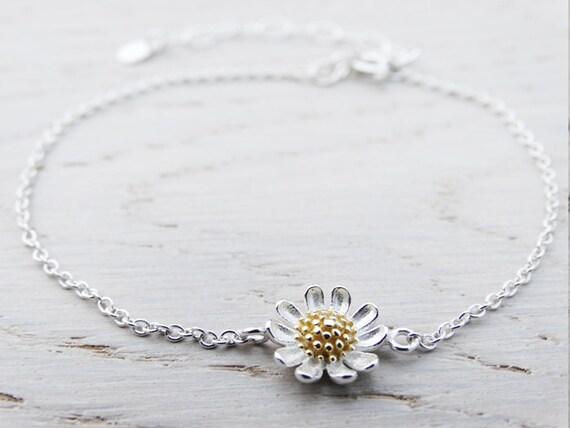 Silver & Gold Daisy Bracelet - Sterling Silver