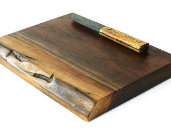 "Natural Edge Chopping Board - Black Walnut - Ready to Ship - 12""x9""x1-1/4"""