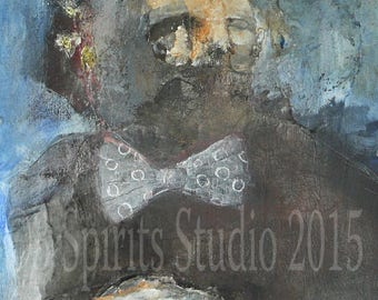 """Original raw expression contemporary art brut Mixed Media Painting on paper-""""A Patient Silence"""""""