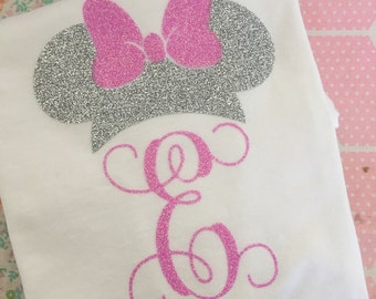 Custom Glitter Minnie Mouse Inspired Personalized Monogrammed Shirt