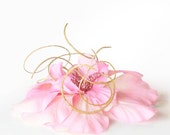 Pink Flower Fascinator, Hibiscus Hair Clip, Pink and Gold Hairpiece for weddings and black tie events