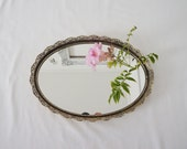 "Vintage Oval Boudoir Vanity Mirror Tray with Golden Frame 13"" x 9"""