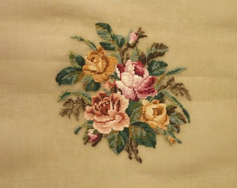 Vintage Floral Pillow or Chair Seat Unfinished Needlepoint Canvas