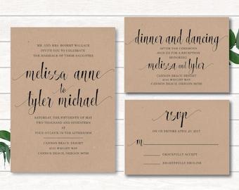 Digital Wedding Invitation, Craft Paper Wedding Invitation, Handwritten Invitation, Calligraphy Invitation,Calligraphy Wedding,Custom Color
