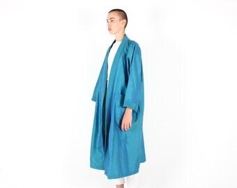 80s Holographic THAI SILK Duo Tone Metallic Futuristic Avant Garde Slouchy Long KIMONO Robe / Trench Coat / Anorak / Duster Jacket - Unisex
