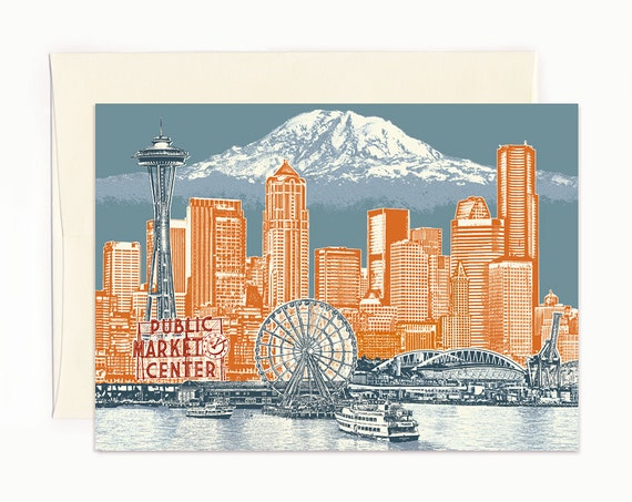 Seattle to Mt. Rainier Notecard - Seattle Washington - full color - folded Greeting Card