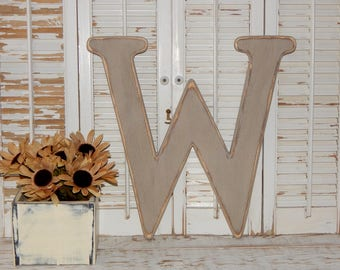 Large Wood Letter W Distressed 18 Inch Wood Letters Choose Letter & Color