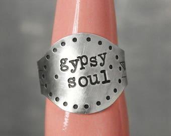 Gypsy Soul Ring, Gypsy Ring Boho Ring, Pewter Ring, Soul Ring, Large Ring,  Hand Stamped Ring, Boho Jewelry, Boho Chic Statement Ring
