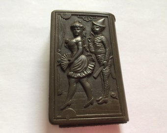 Antique Gutta Percha Match Safe, Rare Victorian ''Circus Performers'' Match Case.