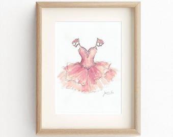 Pink Gown Print, Ballgown Art Print, Watercolor, Girl Dress Art, Girl Room Décor, Baby Wall Art, Nursery Room Décor, Ballerina Picture, Gift