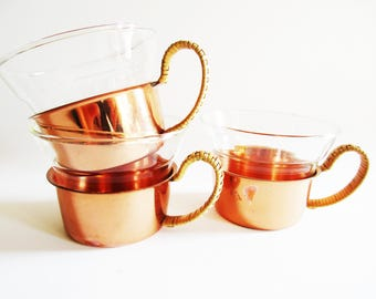Set of 3 German Vintage Boho Copper Tea Cup Holders with Glass inserts, Boho Modern Classic, 70s Design