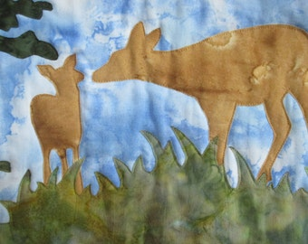 Deer Art Quilt/Wall hanging