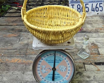 Wicker Basket, Yellow Basket, Funky, Eclectic, Small Basket, Boho Basket, Painted Basket, Yellow Wicker, Painted Wicker, Bohemian, Basket