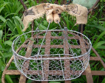 Basket, Chicken Wire, Wire Basket, Rustic, Storage, Metal Basket, Centerpiece, Catchall, Organizer, Primitive, Farmhouse, Kitchen Casa Karma