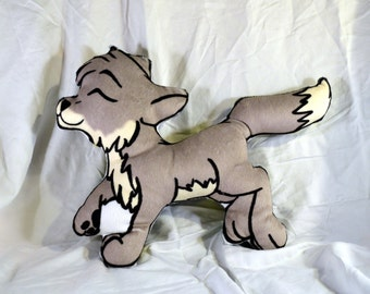 Small Lil' Wolf  Pillow Plush  Printed back