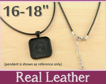 Real Leather Black Necklace Cords - 16-18 inch Necklaces w Extender Chain  -  Black. Pick your quantity