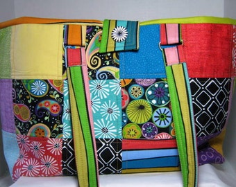 Quilted Fun Flowers Yarn Organizer Tote, Knitting Crochet Bag, JDCreativeHands
