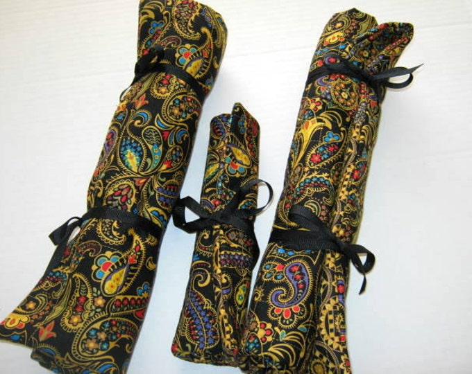 Paisley Quilted Needle Rolls Set for Crochet and Knitting Needles