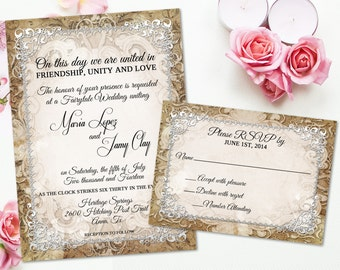 medieval wedding invitation rustic parchment paper ornate fairytale wedding printable invite suite castle wedding crown gothic - Medieval Wedding Invitations