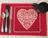 Valentine Heart Placemats,  Set of Six, Red