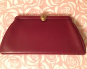 Maroon Vintage 1950s Clutch with Gold Accents