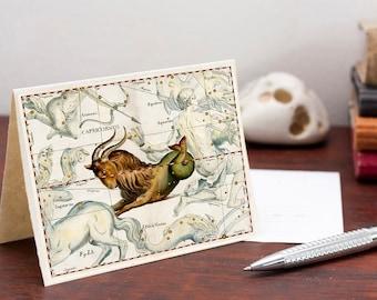 Digital Zodiac Card Capricorn Sign Capricornus Constellation Greeting Card Printable Digital File Instant Download Card PDF Download