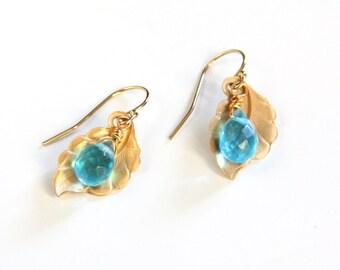 Aqua Blue Earrings, Gold Leaf, Drop Earrings, Quartz, Gold Earrings
