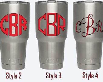 Custom Monogram Decal- Perfect Yeti Size! (Personalize, Initials, Ozark, RTIC, ITC, Mug, Custom)