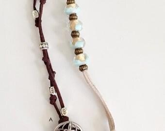 Suede Beaded Bracelets, Beaded Bracelets, Brown Suede Bracelet, Button Clasp Bracelet, Teal and Gold Bracelet