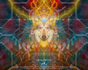 BEAUWOLF - Tapestry Wall Hanging deco Pumayana Visionary Art, Spiritual, Psychedelic, Shamanic, Sacred Geometry, Entheogenic Art