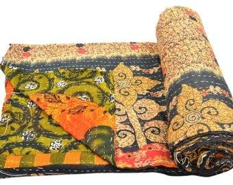 Vintage Kantha Quilt Gudri Reversible Throw Ralli Bedspread Bedding India OG930