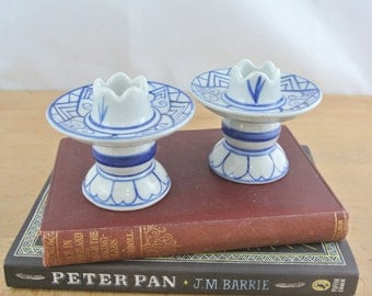 Pair of Vintage Hand Painted Ceramic Porcelain Candle Stick Holders, Blue & White  Lotus Candle Holders