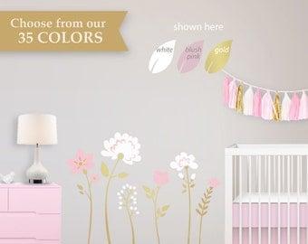 Floral Nursery Wallpaper Alternative - Floral Nursery Trend - Floral Wall Decals - Mural