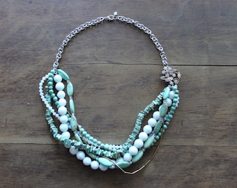 Magnesite and Glass Multi Strand Necklace with Rhinestone Feature