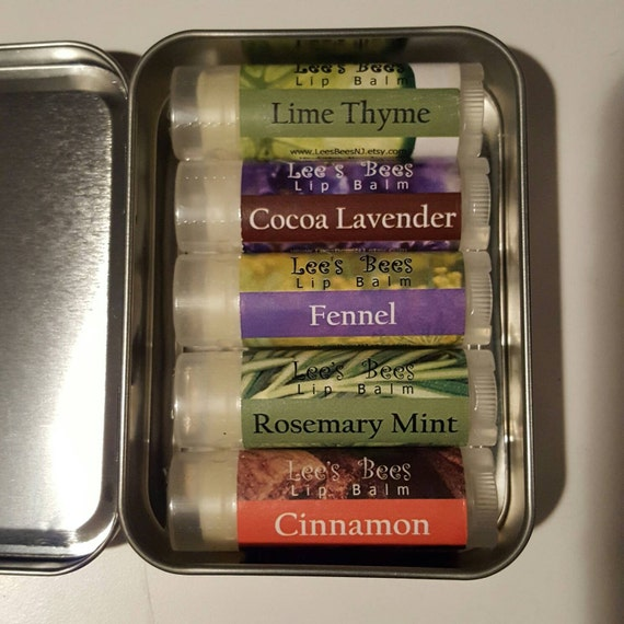 Gift Set - Garden of  Delight Lip Balm Collection - 5 Herbal Beeswax Chapsticks in a Hinged Tin by Lee the Beekeeper