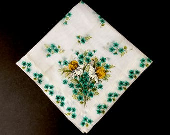 Beautiful 1950's Handkerchief with Flowers in Aqua and Deep Golden Yellow