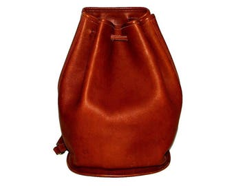 Vintage 90s COACH Caramel Brown Tan Leather Drawstring Bucket Sling Bag